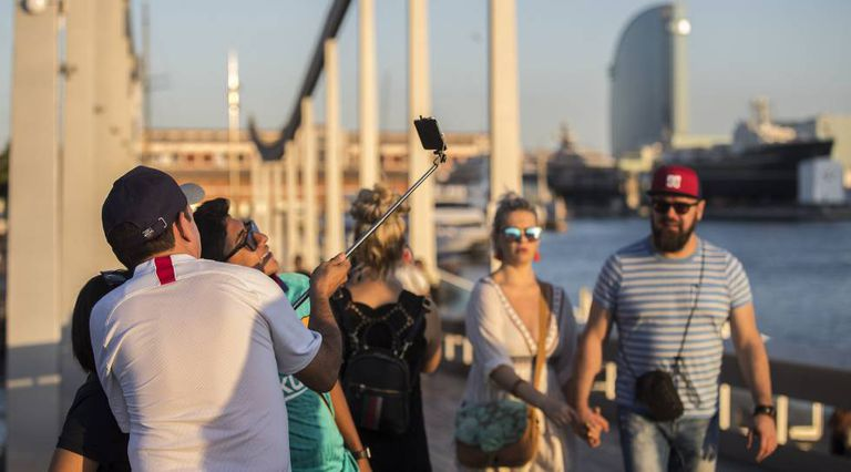 Tourists at the port of Barcelona.
