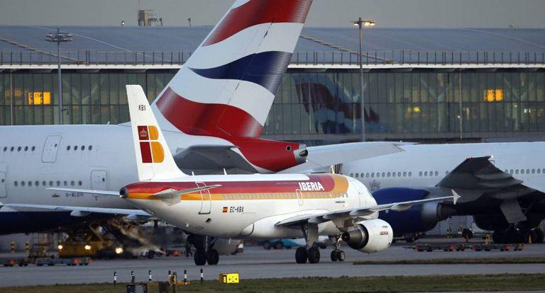 An Iberia plane at Heathrow Airport.