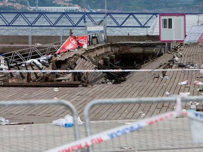 The Vigo promenade after last night's collapse.