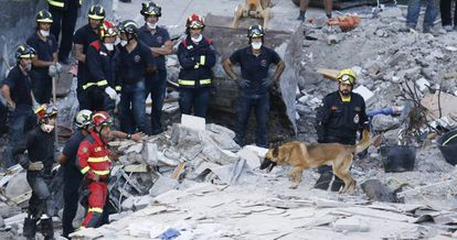 Fire crews search the rubble for survivors.