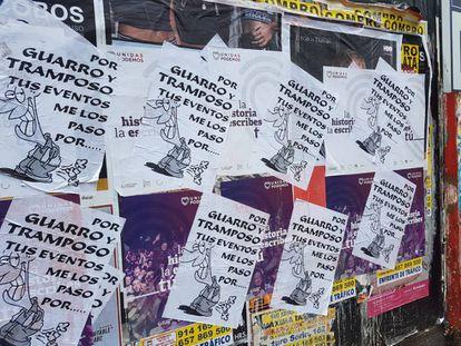 Sabotaged street posters in Madrid.
