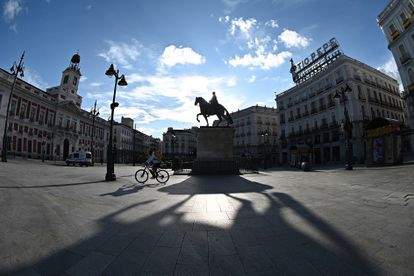Madrid's Puerta del Sol stands nearly deserted last weekend.