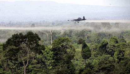 Aerial fumigation of coca crops in southern Colombia