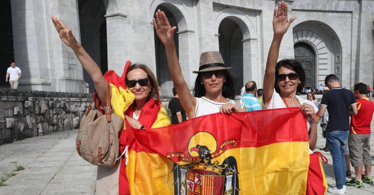 Three Franco supporters at the Valley of the Fallen in Madrid.
