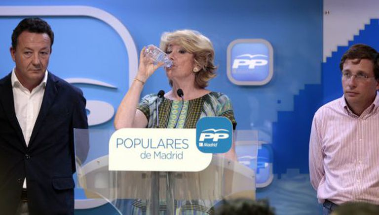Esperanza Aguirre during Tuesday's press conference.