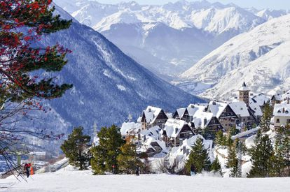 The town of Tanau at the foot of the slopes in Baqueira Beret, Lleida.