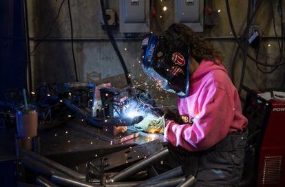 A factory worker in Eugene, Oregon on April 19.