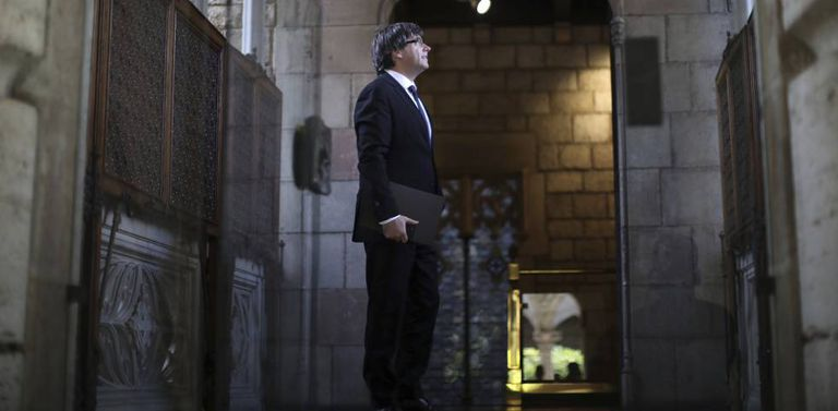 Carles Puigdemont at the Palau de la Generalitat de Catalunya this Tuesday.