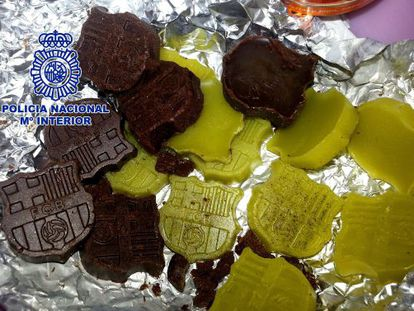 Some of the sweets made with marijuana and magic mushrooms, molded in the shape of a soccer logo.