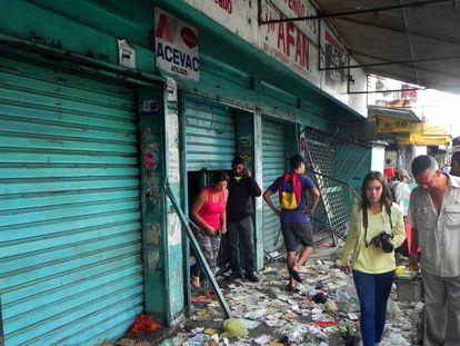Looted stores in Valencia, Venezuela.