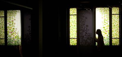 A stained-glass door created by master cabinet-maker Frederic Vidal, on show at the exhibition.