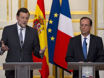 Spanish PM Mariano Rajoy and French President François Hollande on Wednesday.