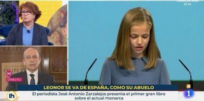 Pantallazo del programa 'La hora de La 1' con el rótulo sobre la princesa Leonor.
