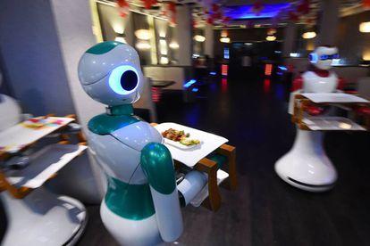 Robot waiters at a restaurant in Kathmandu.