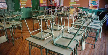 A deserted classroom at the Rufino Blanco public school in Madrid.