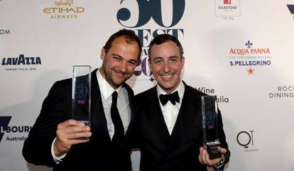 Chef Daniel Humm (l) and Will Guidara, co-proprietors of Eleven Madison Park, after winning the Best Restaurant award.