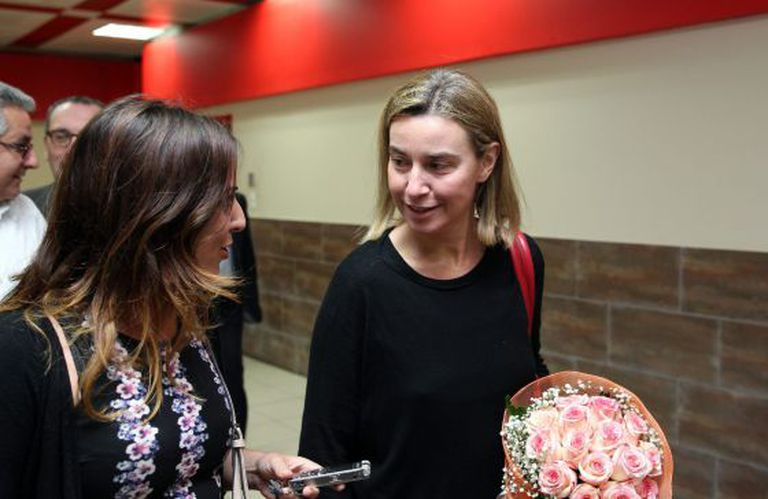 Federica Mogherini (r), the EU's High Representative for Foreign Affairs and Security Policy, arrives in Havana on Monday.
