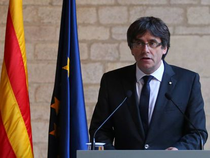 Carles Puigdemont during his speech on Thursday.