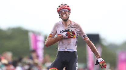 David Valero celebrating his third-place finish in the mountain biking Men's Cross Country Final on Monday.