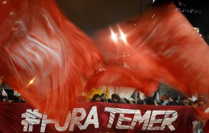 A protester against Brazilian president Temer in Sao Paulo.
