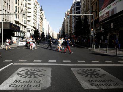 Pedestrians in Madrid's Gran Vía.