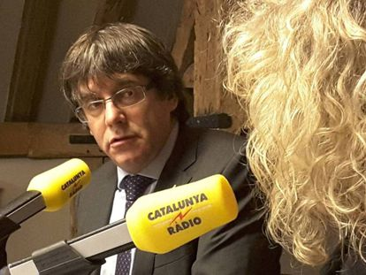 Puigdemont during the interview on Tuesday.