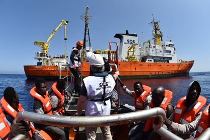 A rescue carried out by the 'Aquarius' in May, 2016, off the coast of Libya.