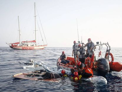 The wreckage of the boat found on the Mediterranean.