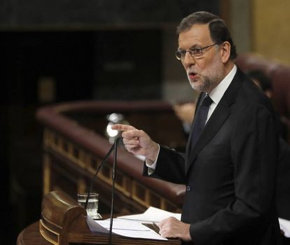 Acting PM Mariano Rajoy addressing Congress on Thursday.