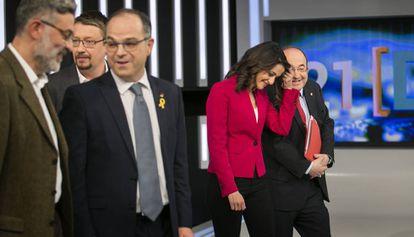 Riera (CUP), Domènech (CeC), Turull (JxC), Arrimadas (Ciudadanos) and Iceta (PSC) before the debate.