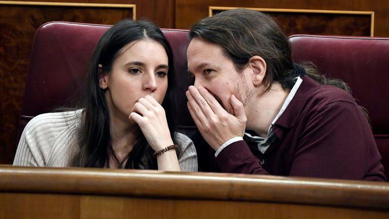A file photo of Irene Montero and Pablo Iglesias in Congress last year.