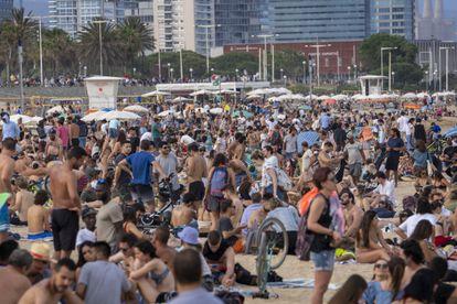 Beachgoers in Barcelona on Sunday.