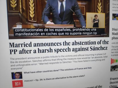 The translated version of the EL PAÍS homepage that spread like wildfire on Twitter this week.