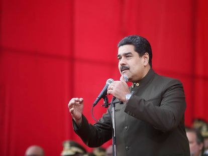 Nicolás Maduro at a military ceremony in Caracas on June 1.