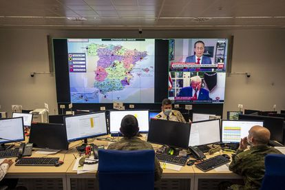 The Joint Operations Center at the Retamares base, outside Madrid. The entire Operation Balmis is directed from this center.