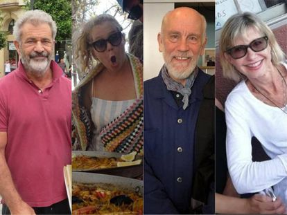 (l-r) Mel Gibson, Amy Schumer, John Malkovich and Olivia Newton-John are some of the stars who have spent their holidays in lesser-known parts of Spain.