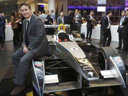 Alejandro Agag poses with a Formula E car in London last November.