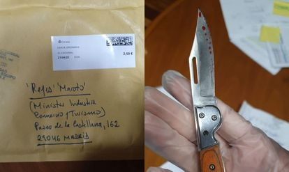 The padded envelope addressed to Reyes Maroto and the pocketknife found inside.