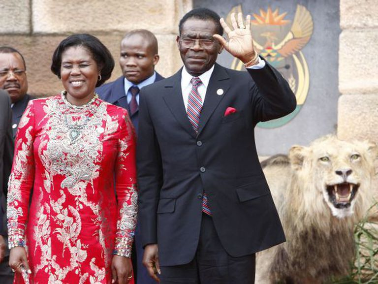 Teodoro Obiang Nguema (right) and his wife Constancia Mangue, pictured in South Africa in 2009.