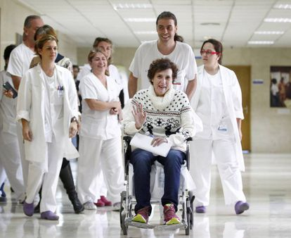 Teresa Romero after being discharged from hospital.