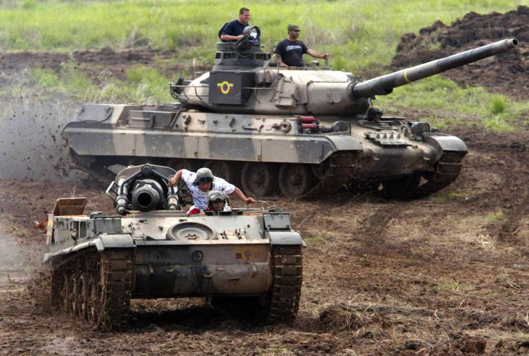 Venezuelan AMX-30 tanks during maneuvers.