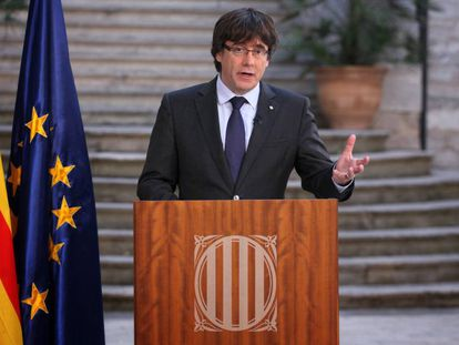 Ex-regional premier Carles Puigdemont during his recorded message today.