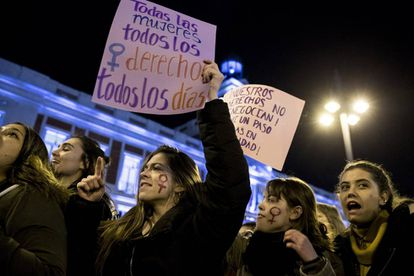 Women's rights activists marching in Madrid.