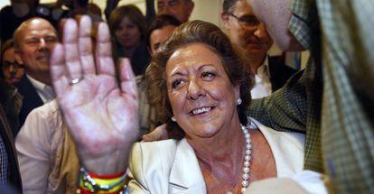 Rita Barberá at Valencia PP headquarters.