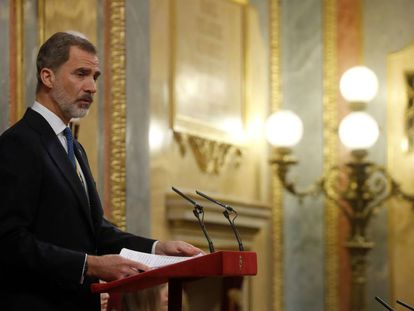 King Felipe IV in Congress on Monday.