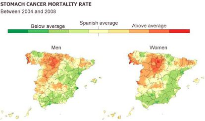 A map showing the stomach cancer mortality rate in Spain.