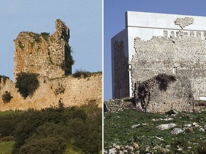 The tower of Matrera Castle, before and after its restoration.