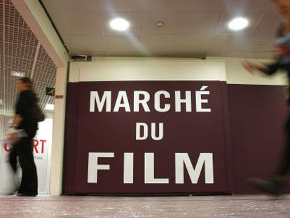 The entrance to the Film Market at the Cannes festival.