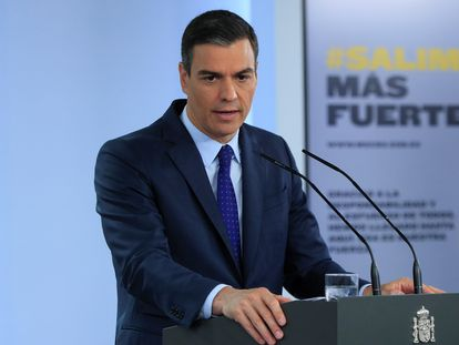 Spanish Prime Minister Pedro Sánchez during today's press conference.