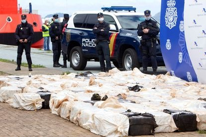 Police with four tons of cocaine seized last April in Vigo, Galicia.